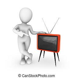 tv, retro, blanc, 3d, rouges, homme