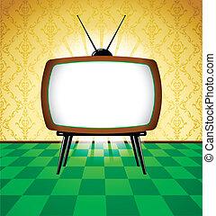 tv, retro, colorito, stanza