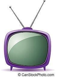 tv, retro, ensemble, vecteur, pourpre