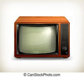 tv, retro, ensemble, vecteur