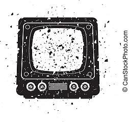tv, retro, illustration, ensemble, grungy, vecteur