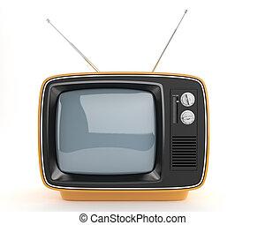 tv, retro, orange, vue, devant