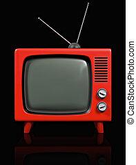 tv, retro, plastisk