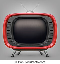 tv, retro, rouges