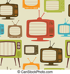 Tv retro seamless pattern. Vector illustration.