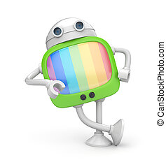 Tv robot - Communication concept. Isolated on white