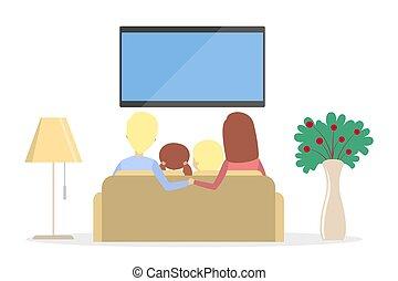 tv., rodzina, oglądając