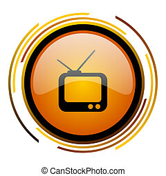 tv round design orange glossy web icon