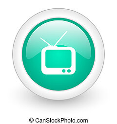 tv round glossy web icon on white background
