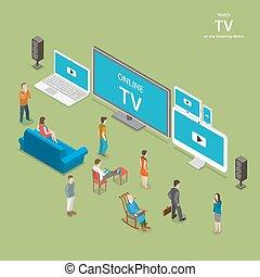 tv, ruisseler, isométrique, vecteur, plat, illustration.