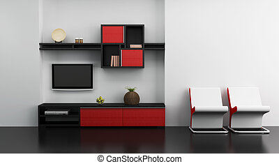 tv, salon, interieur, kamer, boekenplank