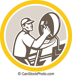 Illustration of a TV satellite dish installer set inside circle done in retro style on isolated background.