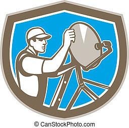 TV Satellite Dish Installer Shield Retro - Illustration of a...