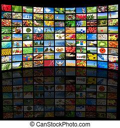 tv scherm, het tonen van beelden, alles, gebruikt, beelden, zijn, mijn, eigendom