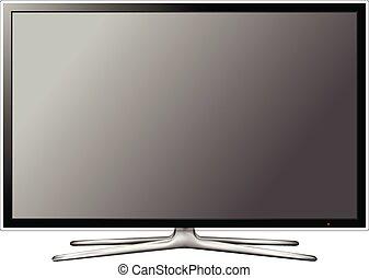 tv scherm, moderne, vector, achtergrond, witte
