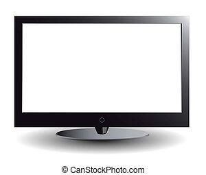 tv scherm, plasma, witte