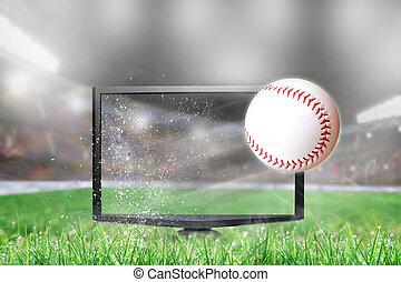 tv scherm, vliegen, honkbal, stadion, uit