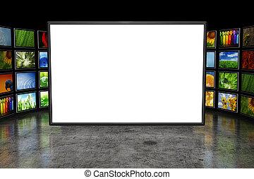 tv, screeen, med, avbildar
