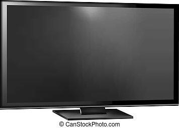 flat screen tv clipart. tv screen - flat lcd, plasma realistic vector. tv clipart e