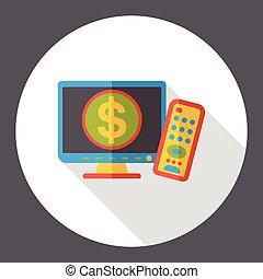 TV screen flat icon