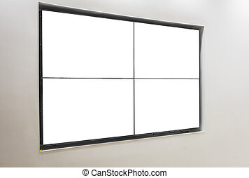 TV screen on wall .