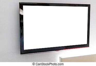 TV screen on wall .