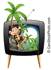 TV screen with monkey on the tree