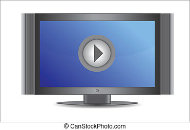 TV screen with play button