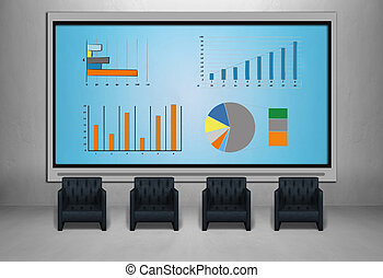 tv screen with stock chart