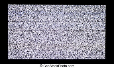 TV Screen with White Noise and Interference on a Black Background. Vintage TV Static Display