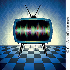 tv, scuro, retro, stanza, ricevitore