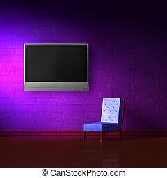 tv, sedia blu, lcd, cuoio