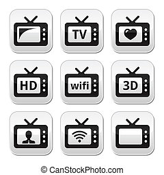 TV set, 3d, HD vector buttons - Wireless, web televistion,...
