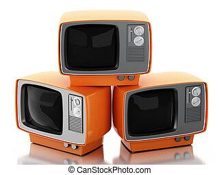 tv, set., 3d, retro, pile