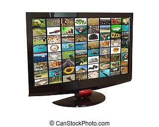 TV set - Flat tv set isolated on white, with images mosaic ...