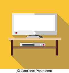 TV set icon, flat style