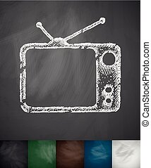 tv set icon. Hand drawn vector illustration. Chalkboard...