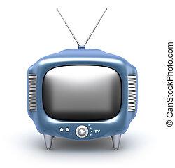 tv, set., isolé, bac, blanc, retro