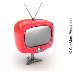 tv, set., isolé, retro, blanc rouge