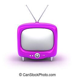 tv, set., isolé, retro