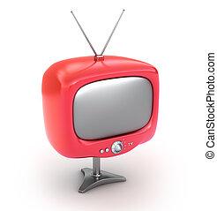 tv, set., isolado, retro, branco vermelho