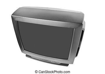 TV set isolated - black tv set isolated on white background