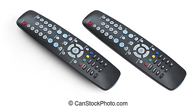 TV set remote control isolated on white with clipping path included. Whole in focus.