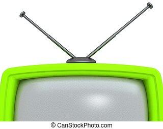 tv, set., retro, isolé