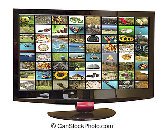 Tv set - TV set with television screen mosaic, isolated with...