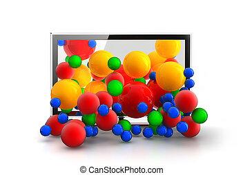 tv, sfere, cadere, colorato, 3d