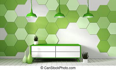 Tv shelf in modern empty room with plants on green hexagon tile background,3d rendering