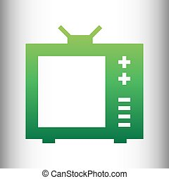 TV sign. Green gradient icon