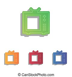 TV sign illustration. Colorfull applique icons set.