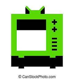TV sign illustration. Vector. Green 3d icon with black side on w